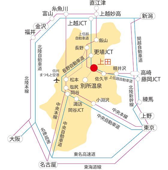 上田市への主なアクセス