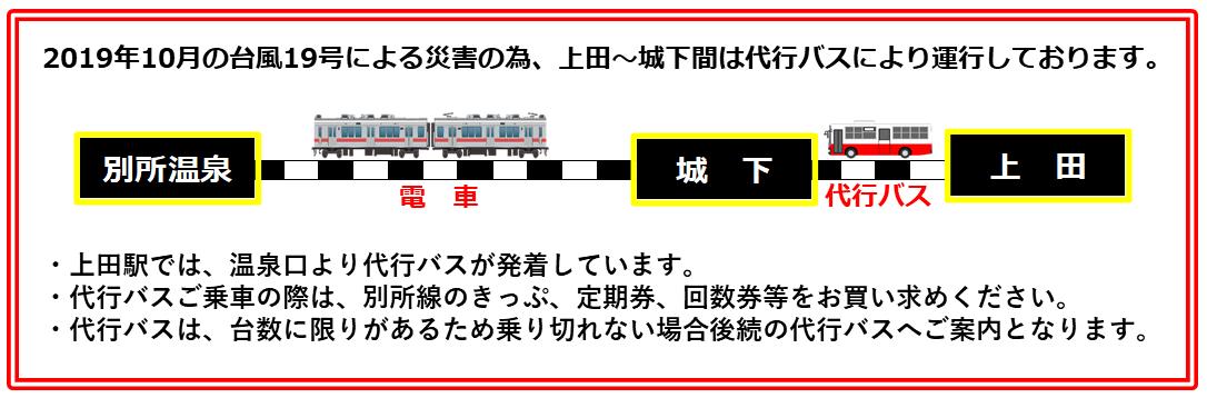 現在、上田〜城下間は代行バス、城下〜別所温泉間は電車で運行しております